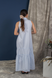 Back view of Whispers & Anarchy Trapeze Midi Dress in Blue Ice Melt