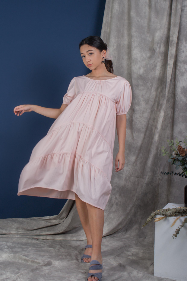 Whispers & Anarchy Puffed Sleeve Tier Dress in Peach