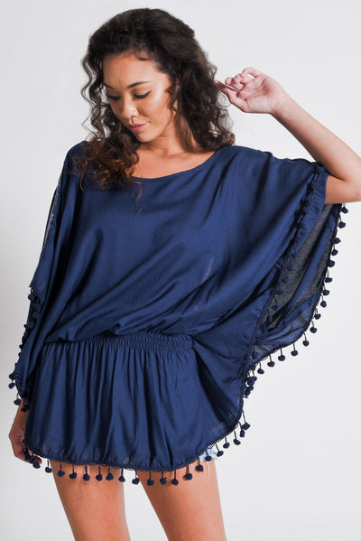 Aanya Blue Backless Poncho Top, available on ZERRIN