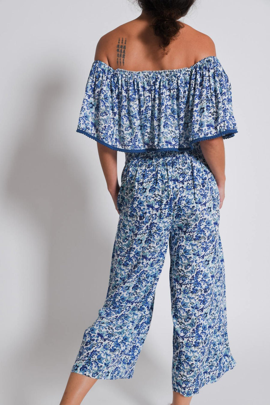 Aanya Blue Tulip Palazzo Pants, available on ZERRIN