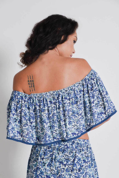 Back view of the Aanya Blue Tulips Crop Top, available on ZERRIN