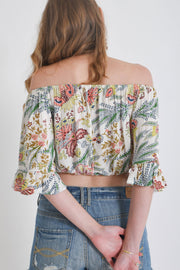 Aanya Peacock Off Shoulder Top, available on ZERRIN