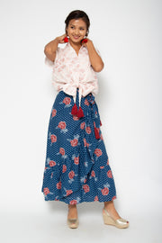 Baliza Lola Flare Skirt in Blue Marigold