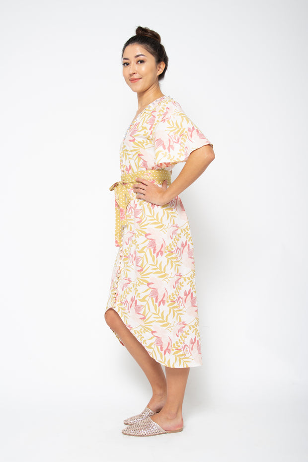 Baliza Sakura Dress in Green & Pink Lily