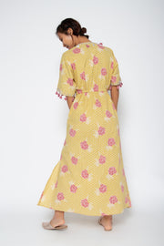 Baliza Maxi Shell Dress in Yellow & Pink Marigold Print