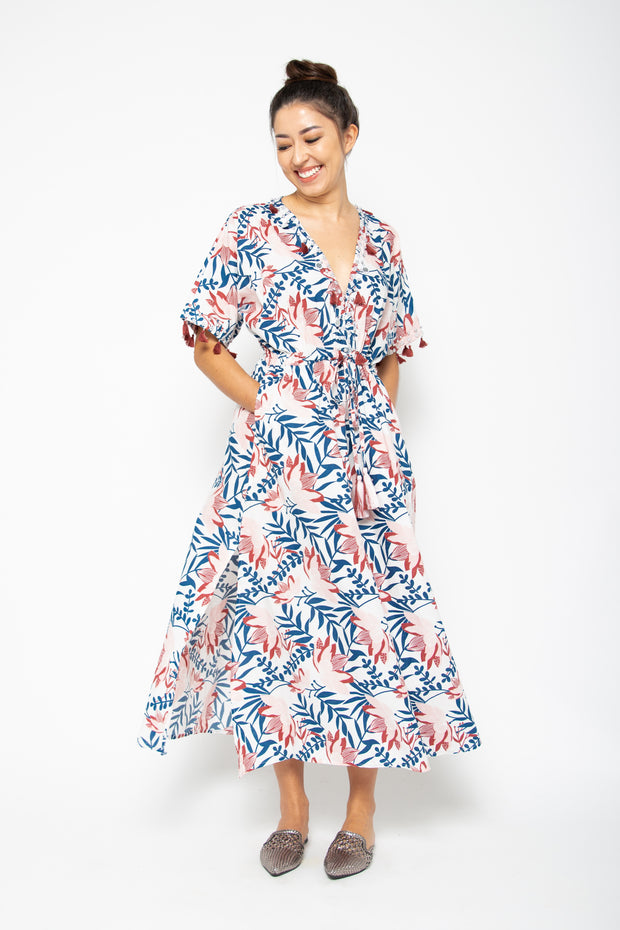 Baliza Maxi Shell Dress in Blue & Pink Lily Print