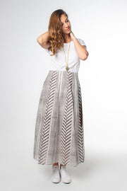 Model wears Maisha Concept Chaand Maxi Skirt in Grey, available on ZERRIN