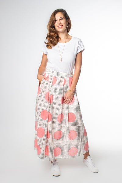Model wears Maisha Concept Chaand Maxi Skirt in Pink, available on ZERRIN
