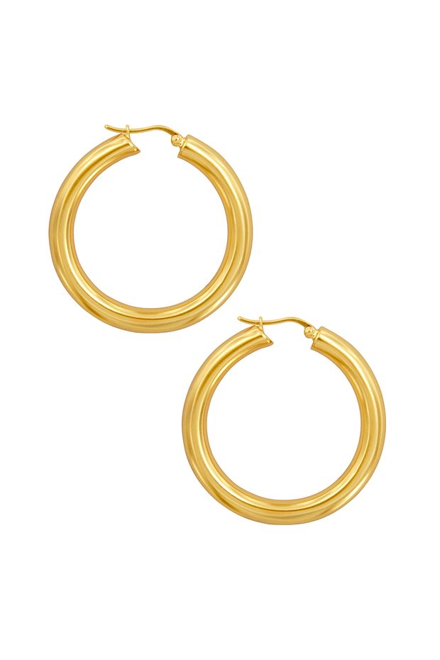 View of Pyar Jupiter Gold Hinged Hoop Earrings, available on ZERRIN with free shipping in Singapore