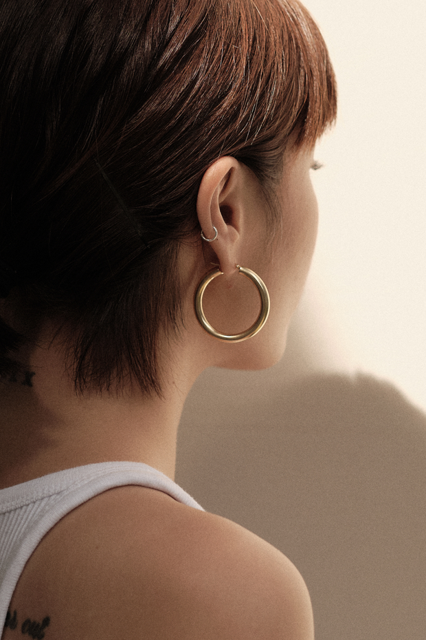 Back view of Pyar Jupiter Gold Hinged Hoop Earrings, available on ZERRIN with free shipping in Singapore