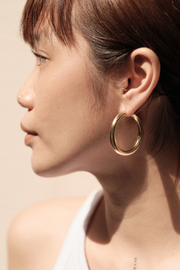 Pyar Jupiter Gold Hinged Hoop Earrings, available on ZERRIN with free shipping in Singapore