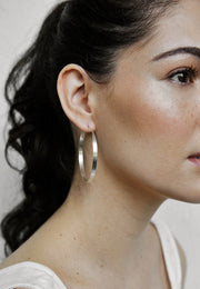 Pyar Silver Hoop Earrings in Small