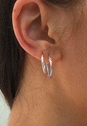 Pyar Hinged Hoop Earrings in Silver