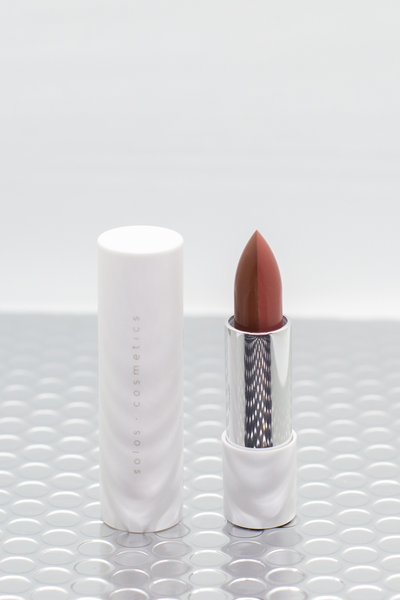 Vegan dual lipsticks in Cocoa Chocolate x Racey Russet by Solos Cosmetics, available on ZERRIN