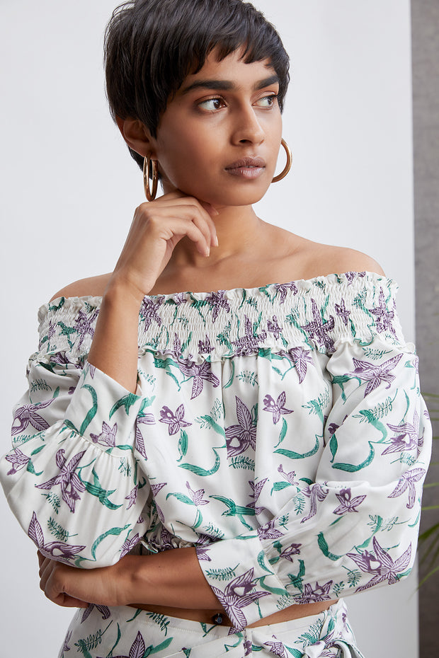 Sui Orchid Garden Off-The-Shoulder Top