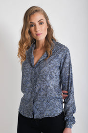 Shop Aanya Classic Women's Shirt in Blue, sustainable fashion available on ZERRIN
