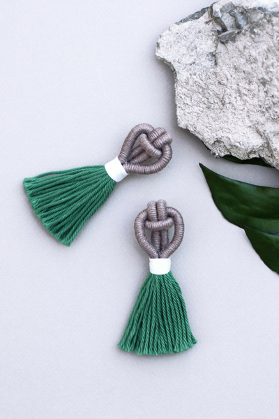 Talee Angsa Tassel Earrings in Truffle & Rainforest, available on ZERRIN