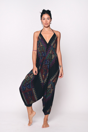 Aanya Elana Jumpsuit in Black Tribal, available on ZERRIN