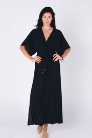 Aanya Hasina Boho Maxi Dress in Black, sustainable women's fashion available on ZERRIN