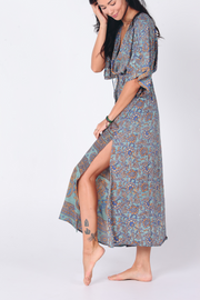 Ladies boho maxi dress with slit by Aanya, sustainable fashion available on ZERRIN