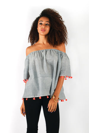 Baliza Organic Cotton Off Shoulder Heritage Tassel Top in Blue