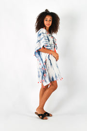 Baliza Organic Cotton Embellished Tie-Dye Kaftan Dress