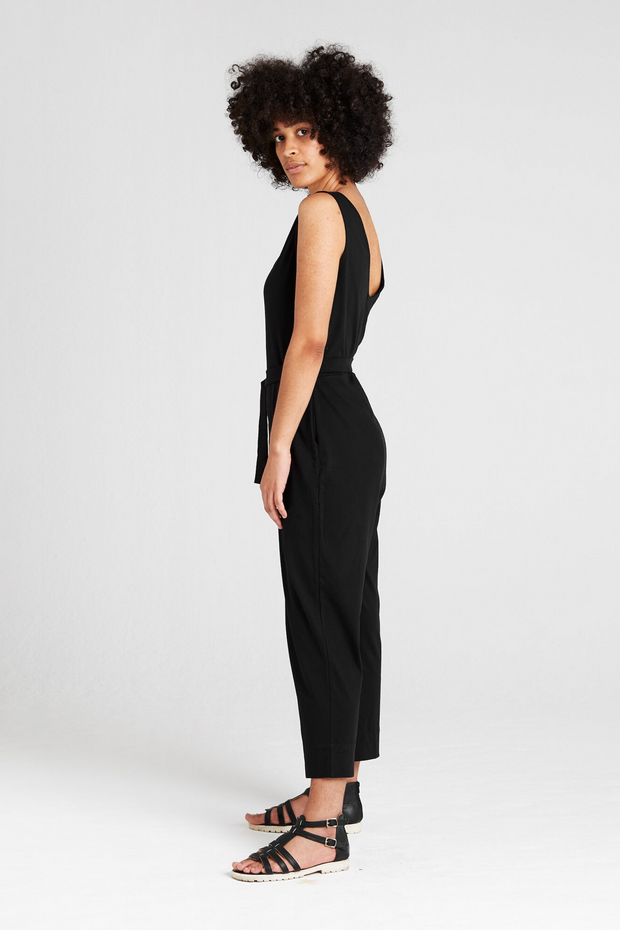 Side view of Dorsu Black Jumpsuit, available on ZERRIN
