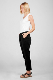 Side view of Dorsu Black Slouch Pant, available on ZERRIN