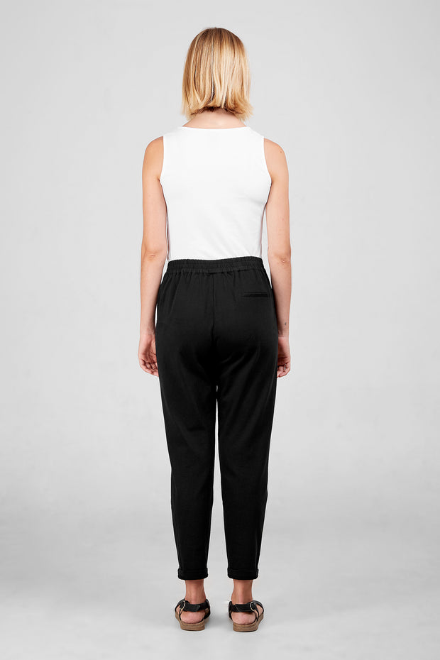 Back view of Dorsu Black Slouch Pant, available on ZERRIN