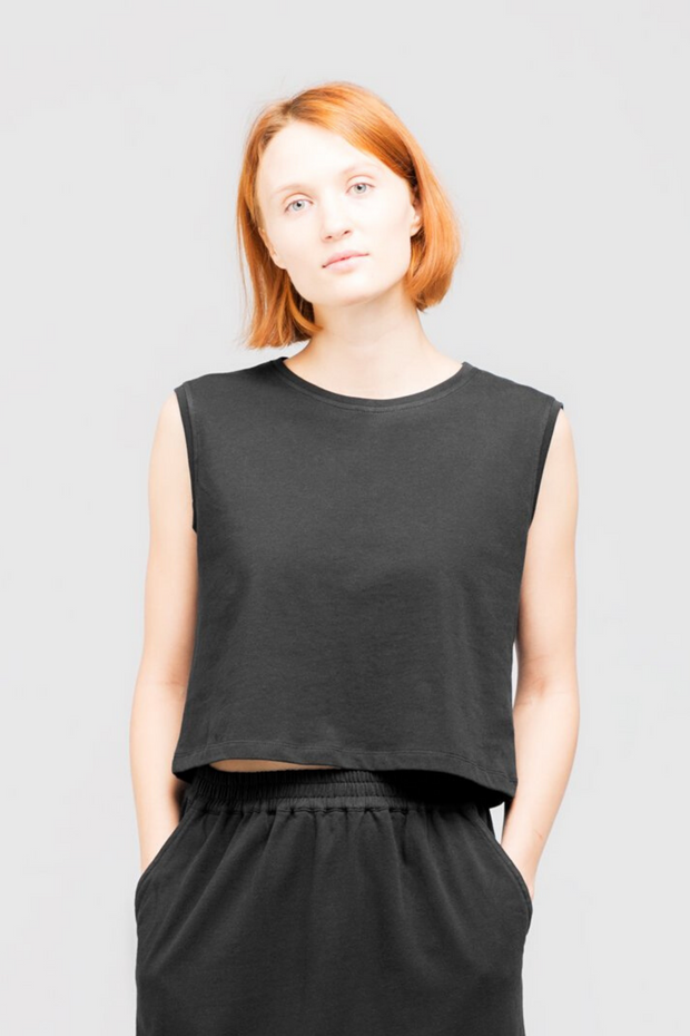 Dorsu Cropped Tank in Black, available on ZERRIN