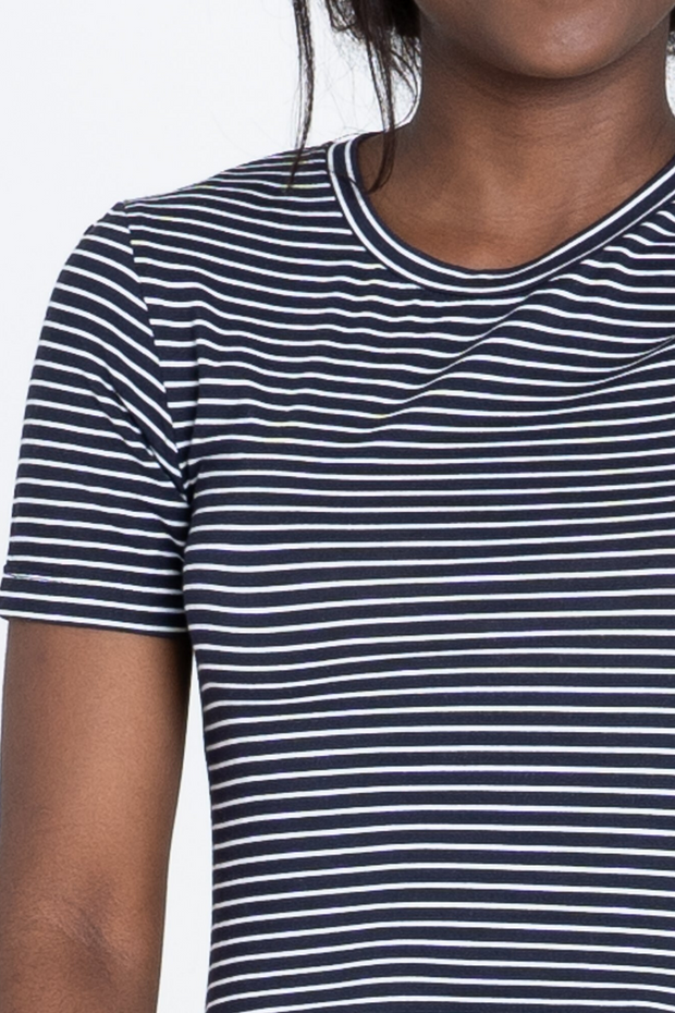Close up of Dorsu Fitted Stripe T-Shirt, available on ZERRIN