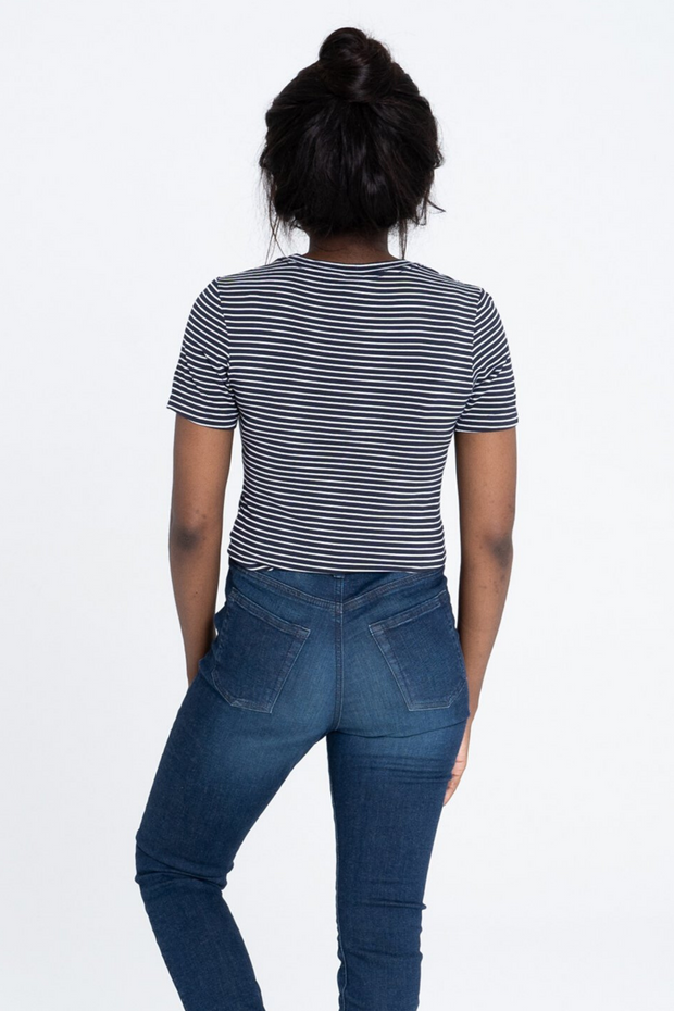 Back view of Dorsu Fitted Stripe T-Shirt, available on ZERRIN