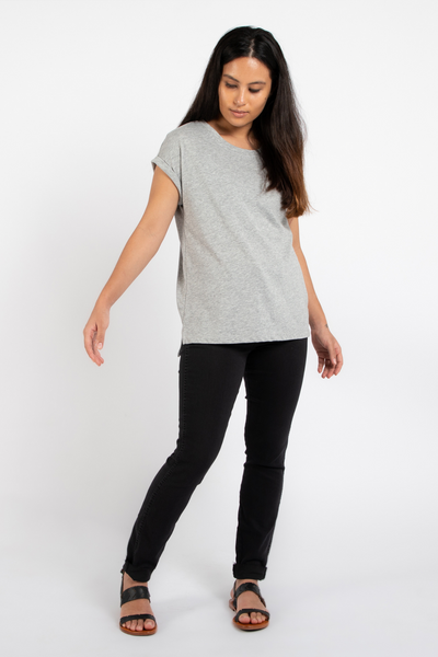 Dorsu Relaxed Crew Tee in Grey Marle, available on ZERRIN