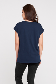 Dorsu Rolled Sleeve Crew T-shirt in Navy
