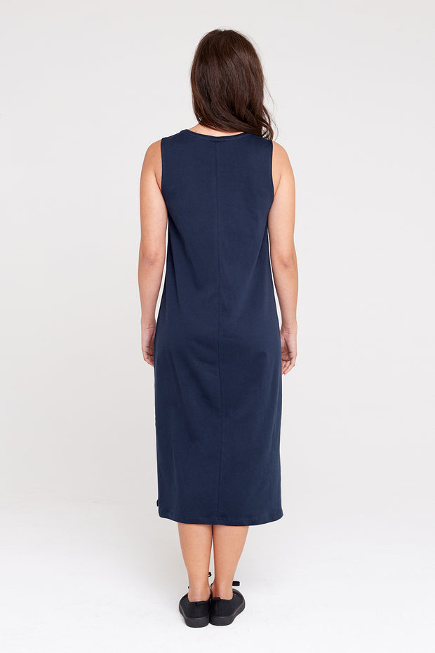 Dorsu Relaxed Tank Dress in Navy