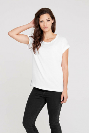 Dorsu Roll Sleeve Crew White T-Shirt, available on ZERRIN
