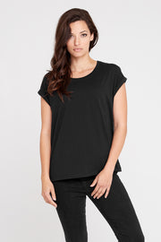 Dorsu Roll Sleeve Crew Black T-Shirt, available on ZERRIN