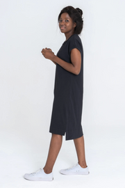 Side view of Dorsu Rolled Sleeve T-shirt Dress in Black, available on ZERRIN