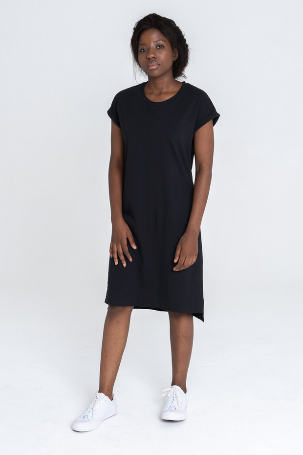 Dorsu Rolled Sleeve T-shirt Dress in Black, available on ZERRIN