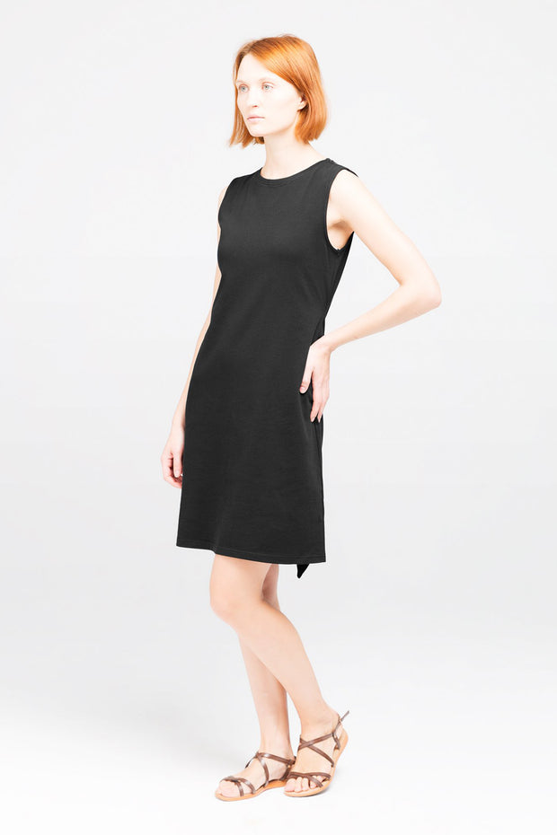Side view of Dorsu Black Tie Dress, available on ZERRIN