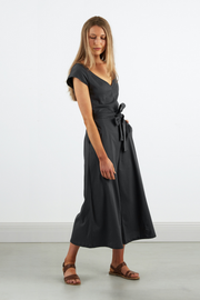 Dorsu Wide Leg Jumpsuit in Charcoal, available on ZERRIN with free Singapore shipping