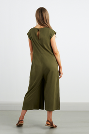 Dorsu Wide Leg Jumpsuit in Olive, available on ZERRIN with free Singapore shipping