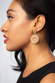 Eden + Elie Handwoven Circles Statement Earrings in Shell Pink