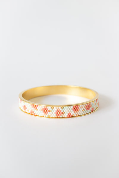 Eden + Elie Modern Peranakan Gold Bangle in Cherry Blossom, available on ZERRIN