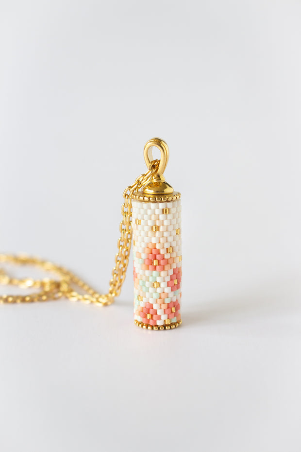 Eden + Elie Modern Peranakan Capsule Necklace in Cherry Blossom, available on ZERRIN