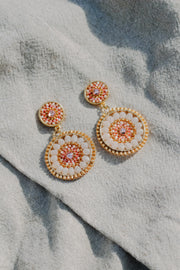 Eden + Elie Handwoven Circles Statement Earrings in Shell Pink, available on ZERRIN