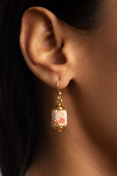 Eden + Elie Modern Peranakan Drop Earrings in Cherry Blossom, available on ZERRIN