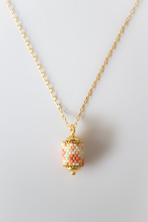 Eden + Elie Modern Peranakan Pendant Drop Necklace in Cherry Blossom, available on ZERRIN