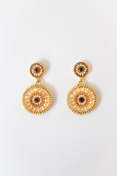 Eden + Elie Handwoven Circles Statement Earrings in Smoked Topaz, available on ZERRIN