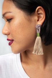 Handmade jewellery in Singapore Talee Tassel Earrings in Truffle & Sand, available on ZERRIN